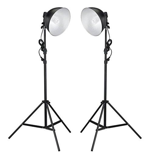 vidaXL Studiolampe mit Reflektoren Stative 24W Fotostudio Studioleuchten