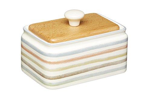 Kitchen Craft Butterschale mit Deckel aus Keramik/Buchenholz, Mehrfarbig, 15 x 11 x 9,5 cm, 2-Einheiten