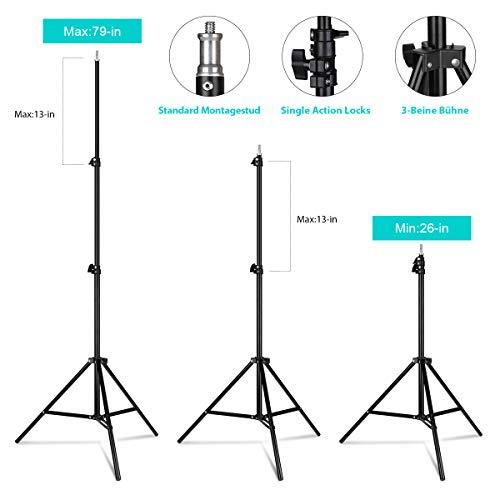 GEEKOTO Softbox Set Fotostudio 50 x 70cm, Dauerlicht Studioleuchte Set mit 2 Softboxlampen E27 85W 5500K, 2m Vollverstellbare Lichtstative für Studio-Porträts, Produktfotografie, Modefotos, usw. - 3