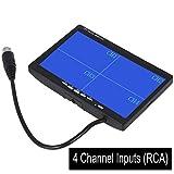 CoCar 7 Zoll 4-Splitscreen Monitor Quad Multiplexer Bildschirm TFT LCD 12-24V für Auto LKW PKW Rückfahrsystem Rückfahrkamera CCTV 4-Kanal Cinch RCA Sonnenschirm 800x480 HD Dash Ständer
