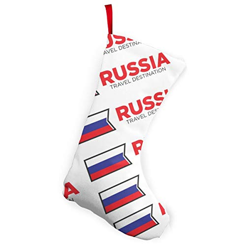 MoonStarDayUp Merry Christmas Stockings Socks Russia Russian National Flag Xmas Decor, for Reindeer Tree Family Ornaments Holiday Santa Claus Party Decorations,5.5 X 7.5 X 10 Inches