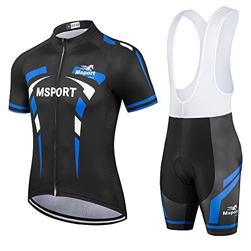 Msport Abbigliamento ciclismo Set completo Tuta Bici Maglia + Salopette Pantaloncini, Mod...