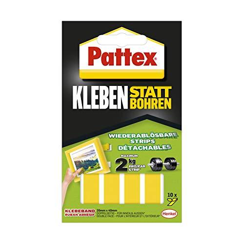 Pattex plakken in plaats van boren plakstrips, sterk dubbelzijdig plakband, verwijderbare plakstrip, lijm beveiligt objecten permanent zonder boren, 10 stroken van 20 x 40 mm