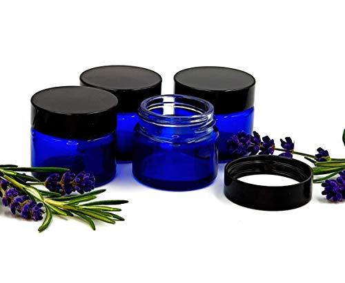 4er packung x 15ml Leer Blau Glasdose mit schwarzem Deckel für Aromatherapie, Kosmetik, Lippenbalsam und Creme