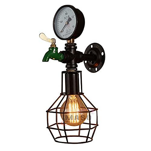 WANQINV Medidor de agua decorativo Aplique de pared Apliques de pared de estilo industrial Lámpara de pared vintage antigua Lámpara colgante Luz de suspensión Dormitorio Bar Escaleras Pasillo Art Deco