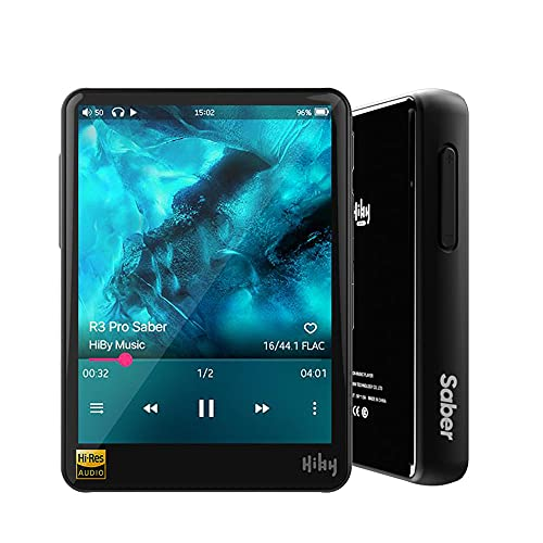 HiBy R3 Pro Saber Portable Hi-Res Music Player, Hi-Fi Lossless MP3 Player with Bluetooth 5.0/aptX/LDAC/MQA/DSD/FLAC/5G WiFi/Dual ES9218P, High Resolution Audio Player with Full Touch Screen - Black