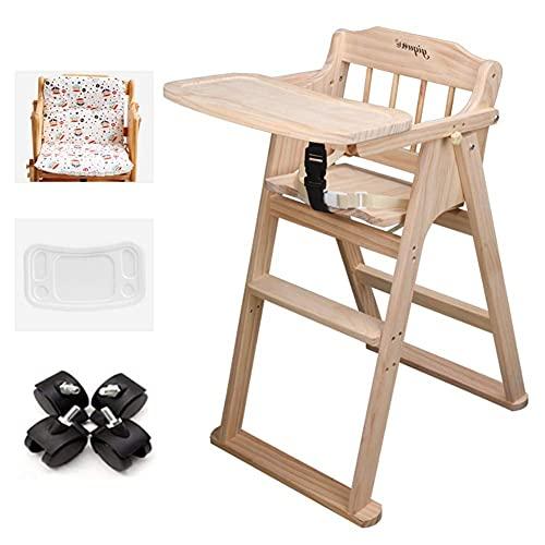 Silla alta plegable para bebé – Trona de alimentación ajustable de madera para bebé, silla de comedor ahorrador de espacio para niños pequeños, carga 60 kg (color: paquete 2)