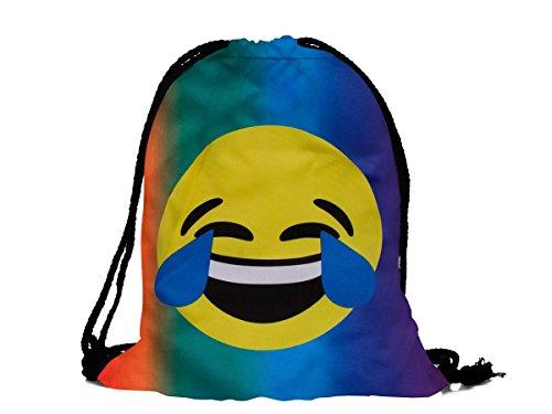 Alsino Hipster Turnbeutel/Gym Bag/Sporttasche Emoji/Emoticon Smiley Turnbeutel (RU-122 Tränen lachen bunt)