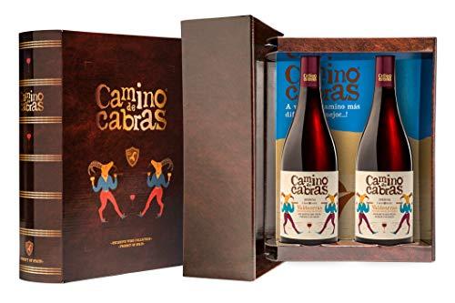 CAMINO DE CABRAS Estuche regalo – Producto Gourmet – Vino tinto – Mencía D.O. Valdeorras - Vino bueno para regalo - 2 botellas x 75cl