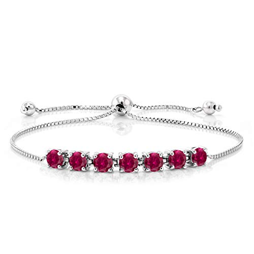 Sterling Silver Red Created Ruby Adjustable Bracelet by Gem Stone King