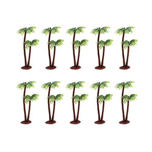 Cabilock 20pcs Coconut Palm Model Trees Diorama Plastic Trees Artificial Rainforest Miniature Trees Train Railways Architecture Building Model Trees Cake Topper Decoration L
