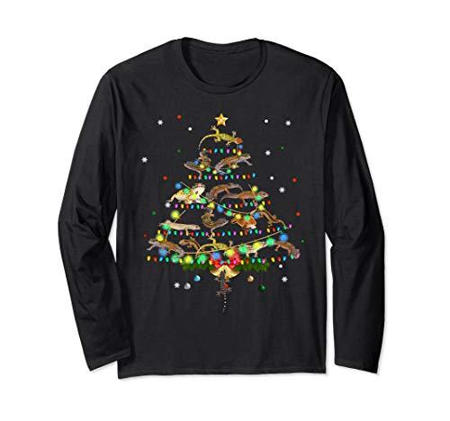 Funny Leopard Gecko Christmas Tree Ornament Decor Gift Cute Long Sleeve T-Shirt