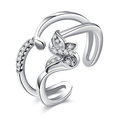 Boowhol Anillos para mujer de plata 925 con doble línea, creativos mariposas, anillo de diamante, apertura en plata, oro rosa (plata)