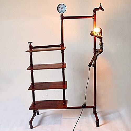 LXHLDD Lámpara de pie Lámpara de Piso Dormitorio Sala de Estar Lámpara estándar Hierro Arte Viento Industrial Luces de Piso con Zapatero Estilo nórdico