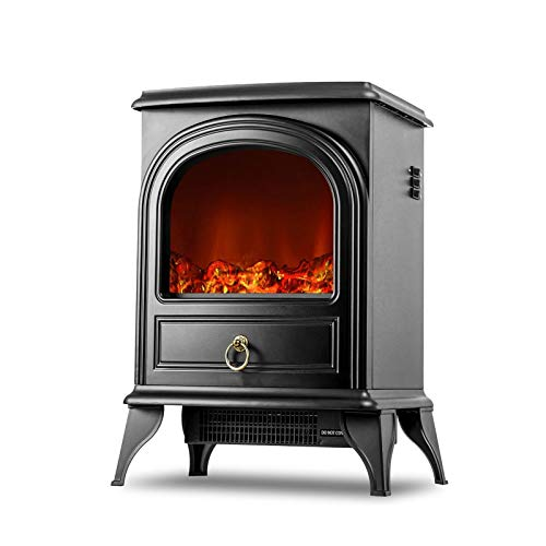 GQQG Electric Heater Fireplace for Indoor Use Space Heater with 3D Flame Effect, 2 Heat Modes, 700W/1350W Ultra Strong Power, Free Standing Flame Heater