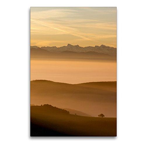 CALVENDO Premium Textil-Leinwand 60 x 90 cm Hoch-Format Blick zu den Schweizer Alpen vom Jura in der Schweiz, Leinwanddruck von Sandra Schänzer