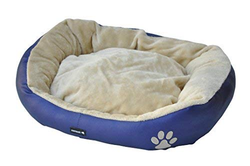 nanook Hundebett Katzenbett Barni blau mit beigem Plüsch 70 x 60 cm