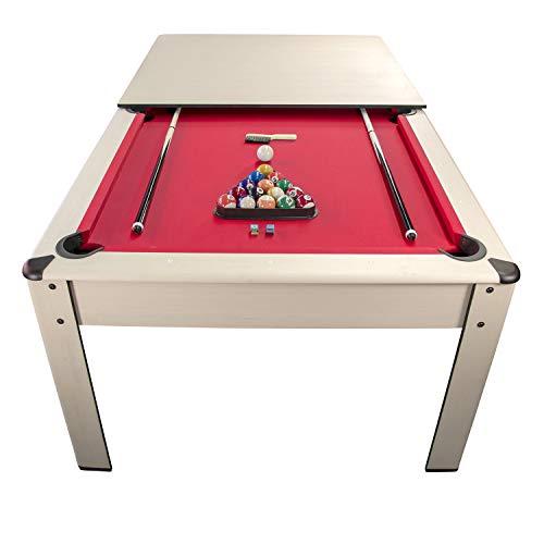 Billar Harmony Convertible en Mesa - 206,5 x 116,5 x 80 cm Color Haya-Alfombra Roja