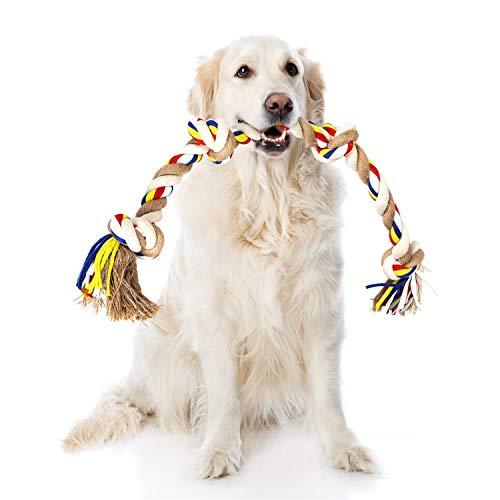 Nobleza - Cuerda de Juguete para Perros 100% algodón, beneficiosa para la Salud Mental del Perro, la Salud Dental y la Limpieza de los Dientes, Tipo de Perros, Beige y marrón - 68cm