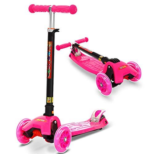 YUANLAISHINI Scooter para niños, Scooter Plegable para niños, 5 Alturas Ajustables, Flash en Las Cuatro Ruedas, Adecuado para niños de 2 a 14 años, Apoyo 100 Kg, Altura aplicable 80-150CM,A2