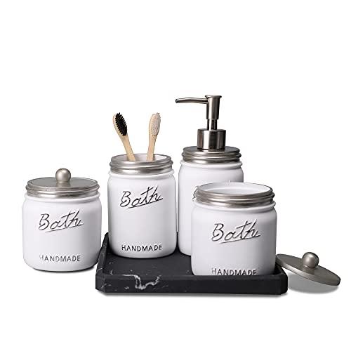 LKKL Premium Mason Jar accesorios de baño Set de 5 tarros de baño con dispensador de jabón, soporte para cepillo de dientes, tarro...
