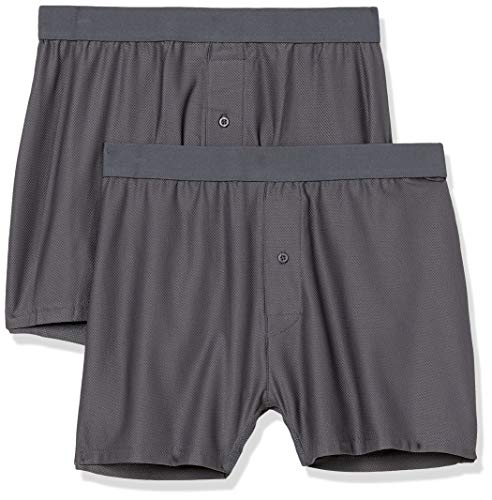 Amazon Essentials 2-Pack Breathable Quick-Dry On-The-Go Boxer-Shorts, Kohlegrau, M