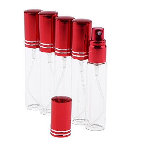 SM SunniMix 5 x 10 ml Flacon de Parfum Verre Mini Bouteille Pompe Vide pour Voyage - Rouge