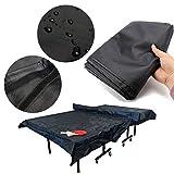 Essort Housse de Table de Tennis de Table, Table de Ping-Pong Couverture, Housse Meuble Couverture de Ping Pong en Tissu Oxford, Résiste aux UV et à l'Hiver, 308 x 160 x 16 cm, Noir