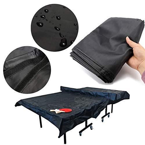 ESSORT Funda de Mesa de Tenis de Mesa Impermeable 210D Oxford Funda Protectora para Mesa de Ping-Pong con Bolsa de Almacenamiento y Protección de Plantilla (308 x 160 x 16 cm)