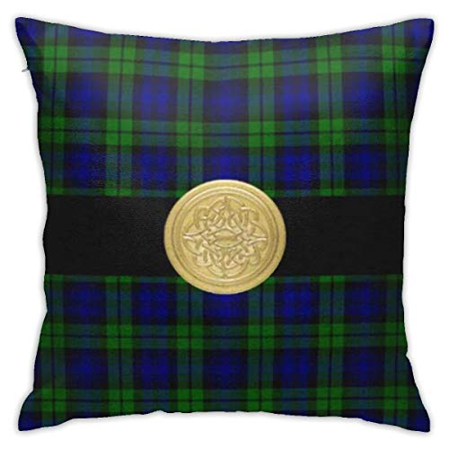 SXboxing Decorative Throw Pillow Covers 18x18 Inches,Christmas Square Throw Pillow Cases for Sofa Bedroom Car Blue Knotwork Black Watch Tartan Plaid Celtic Knot Green