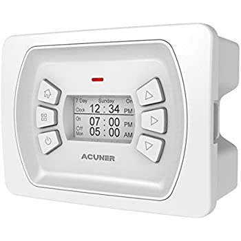 Acuner Programmable Timer Switch with 4 Operating Modes, 3 Mounting Options (Plastic, White)