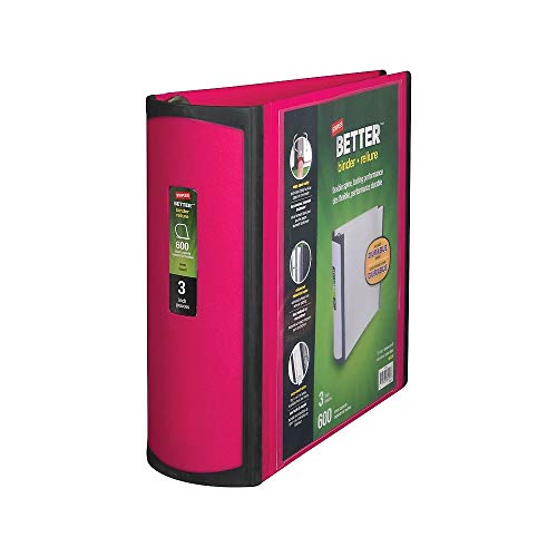 STAPLES 702876 Better 3-Inch D 3-Ring View Binder Pink (15128-US)