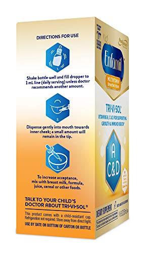 Enfamil Tri-Vi-Sol Vitamins A, D & C Supplement Drops for Infants, 50 mL (Pack of 3)