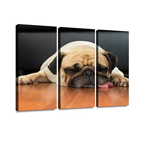 BELISIIS Close-up face Cute Pug Puppy Dog Sleeping on Laminate Floor Wall Artwork Exclusive Photography Vintage Abstract Paintings Print on Canvas Home Decor Wall Art 3 Panels Framed Ready to Hang