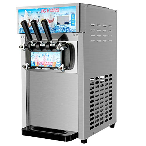 Z ZELUS 1200W Softeismaschine Kommerzielle Eismaschine Speiseeisbereiter Eiscrememaschine Speiseeismaschine 3 Geschmack Kommerziell Eismaschine 18 L/H Frozen Eiscreme-Bereiter Ice Cream Maker
