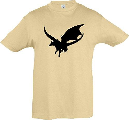 Kinder-Shirt; Tiermotiv Drache, Dragon, Fabeltier; Farbe Natur, Größe 152