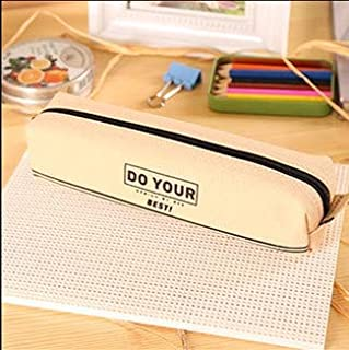 Yiherone Elementary Canvas Pencil-Box Student School Pencil Case Office Stationery Storage Bag Modest Items Bag(Yellow) New (Color : Beige)