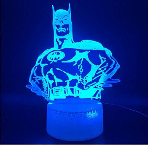 Jkxiansheng3D Illusion Led Night Light Lamp Marvel Comics Super-Héros Batman Hologram Office Room Decorative Light Kids Child Gift