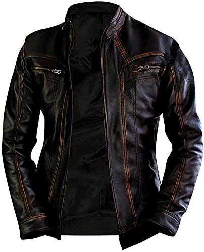 Chaqueta de piel auténtica para hombre, estilo motociclista, color negro envejecido, chaqueta de piel auténtica, para hombre