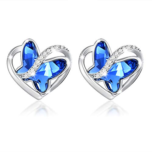 SNZM Sterling Silver Butterfly Crystal Earrings for Women Silver Love Heart Stud lady Earring for Mum Wife Girlfriend on Birthday Anniversary Christmas Day Gift Blue Butterfly Present