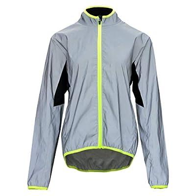 bpbtti Women's Reflective Safety Running Cycling Jackets Lightweight Windbreaker (Reflex Silver/Neon Yellow,X-Large)