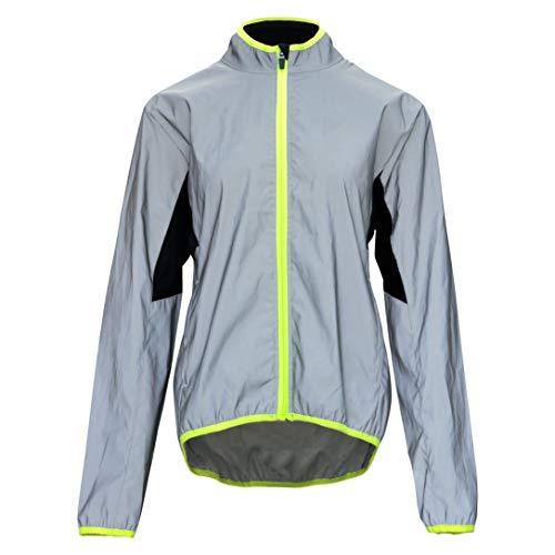 bpbtti Women's Reflective Safety Running Cycling Jackets Lightweight Windbreaker (Reflex Silver/Neon Yellow,Medium)