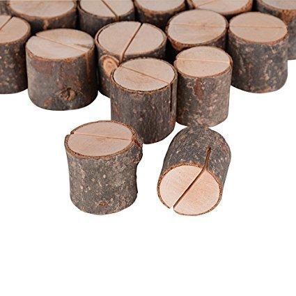 AONER 40 Stück Tischkartenhalter Fotohalter Holz Kartenhalter Hochzeit Platzkartenhalter Memohalter Sitzkartenhalter Tischnummernhalter für Hochzeit