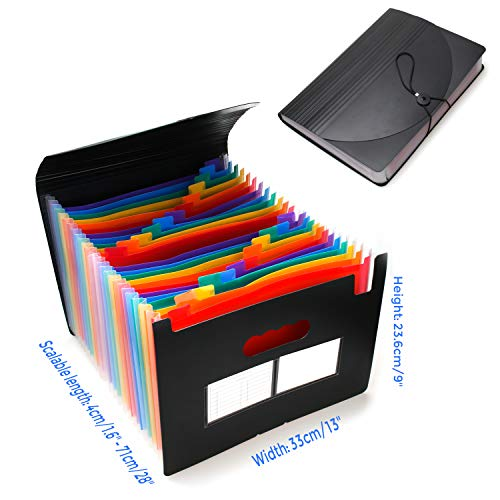 24 Pockets Expanding File Folder with Cover Accordian File Organizer Portable A4 Letter Size File Box,High Capacity Plastic Colored Paper Document Organizer Filing Folder Organizer Photo #4