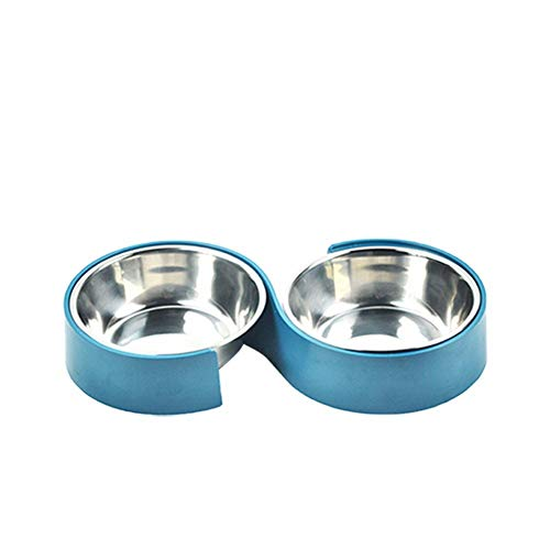 HGTRSDE Cat and Dog Bowl Double Stainless Steel Bowl Non-slip Base Anti-spill and Anti-spill Silicone Mat