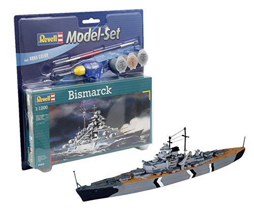 Revell Modellbausatz Schiff 1:1200 - Bismarck im Maßstab 1:1200, Level 4, originalgetreue Nachbildung mit vielen Details, , Model Set mit Basiszubehör, 65802
