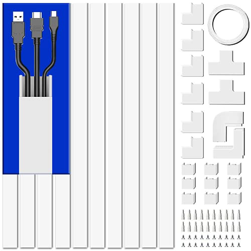 Cord Cover Raceway Kit, 157in Cable Cover Channel, Paintable Cord Concealer System Cable Hider, Cord Wires, Hiding Wall Mount TV Powers Cords in Home Office, 10X L15.7in X W0.95in X H0.55in, White