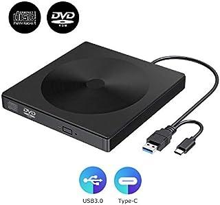 Unidad de CD DVD Externa USB3.0, grabadora de grabadora de CD/DVD RW portátil Tipo C, Transferencia de Datos de Alta Velocidad y bajo Ruido, Compatible con Windows 2003 / Vista /8/10 / Mac OS