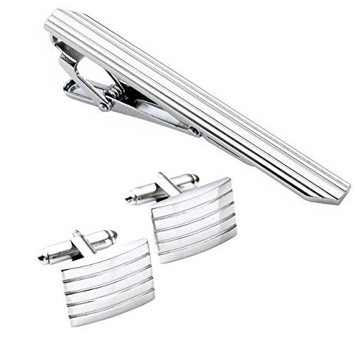 PiercingJ 3PCS Set Boutons De Manchette Rayures + Epingle Pinces a Cravate Chemise Clip Tie Mariage Business Acier Inoxydable Elegant Delicat Cadeau C