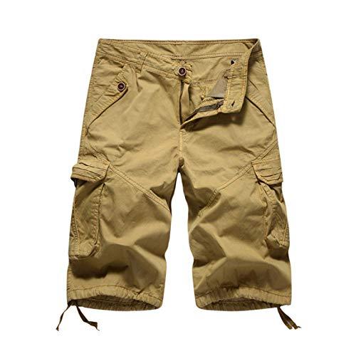 Pantalones Cortos Cargo de Cintura Media para Hombre Tendencia de Moda de Verano Costuras Pantalones Cortos Deportivos Casuales para Exteriores con Multibolsillos 34